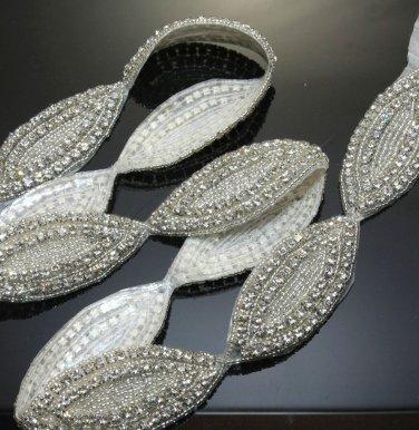 1 Yard Beaded Acrylic Rhinestone Crystal Wedding Craft Sash Oval Trim Applique