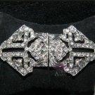 Bridal Wedding Dress Rhinestone Crystal Belt Closure Hook and Eye Clasp DIY -EU