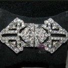 Classic Vintage Style Rhinestone Crystal Bridal Ribbon Belt Hook and Eye Clasp