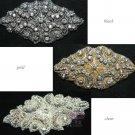 "3.5"" Rhombus Black/Gold/Silver Rhinestone Crystal Bridal Ribbon Belt Applique"