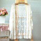 FASHION ELEGANT LACE EMBROIDERY CROCHET CREAM OFF WHITE LEAF JACKET OUTWEAR