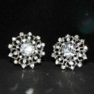Lot of 6 Vintage Style Round Flower Rhinestone Crystal Bridal Wrap Shank Button