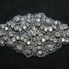 "Lot of 3 - 3.5"" Black Vintage Style Rhinestone Crystal Bridal Ribbon Applique"