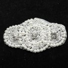 Lot Of 4 Beaded Glass Crystal Rhinestone Wedding Faux Pearl Applique DIY