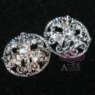 Lot of 4 Vintage Style Motif Pattern Rhinestone Crystal Round Shank Button DIY