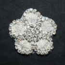"""2.3"""" Cute Flower Acrylic Beaded Rhinestone Crystal Wedding Bridal Craft Applique"""