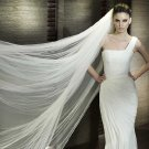 Wedding White / Ivory 2.8m Catherdal Soft Tulle Organza 2 Tiers Veil With Comb