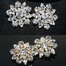 Lot of 2 Flower Marquise Rhinestone Crystal Silver/Gold Tone Floral Buttons DIY