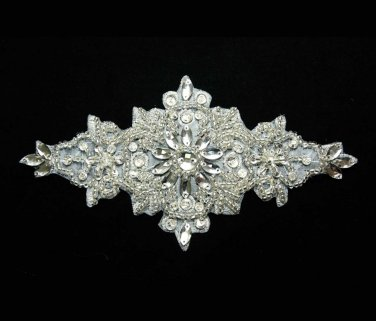 LOT OF 3 SNOW IRON/ SEW BEADED GLASS CRYSTAL RHINESTONE WEDDING APPLIQUE