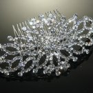WEDDING BRIDAL RHINESTONE CRYSTAL BRIDE GIRL SILVER SYMMETRY HAIR COMB -CA
