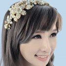 Gold Flower Bridal Wedding Tiara Pearls Beads Rhinestone Crystal Headband