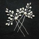 1 Piece Wedding Bridal Faux Pearl Rhinestone Crystal  Flower Pin Hair Stick