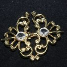 Vintage Style Wedding Gold Tone Rhinestone Crystal Closure Hook and Eye Clasp