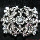 Vintage Style Motif Rhinestone Crystal Large Ribbon Slider Sash Belt Buckle