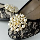 A Pair Of Faux Pearl Floral Rhinestone Crystal Wedding Gold Silver Shoe Clips