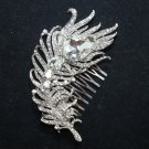 FEATHER BRIDAL WEDDING BRIDES SILVER CLEAR RHINESTONE CRYSTAL HAIR COMB - CA