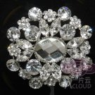WEDDING BRIDAL CRYSTAL LARGE DRESS SASH CAKE OVAL BROOCH PIN -CA