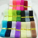"5Yards 1"" Organza Sheer Tulle Ribbon Wedding Angled Cut Ribbon - Any Color DIY"