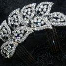 FEATHER LEAF WEDDING BRIDAL RHINESTONE CRYSTAL HAIR TIARA COMB -CA