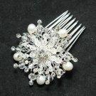 Wedding Bridal Flower Star Freshwater Pearl Rhinestone Crystal Hair Comb -CA