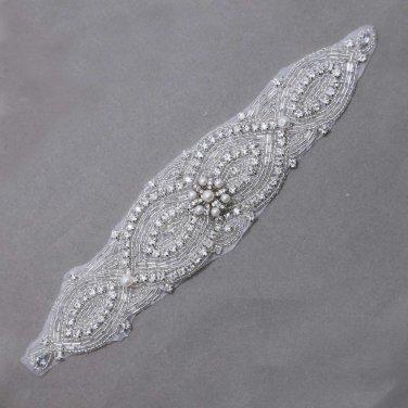 Clear Rhinestone Crystal Ivory Pearl Wedding Sash Applique Motif Bridal DIY