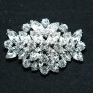 WEDDING BRIDAL RHINESTONE HAIR DRESS SASH SILVER RHOMBUS OVAL BROOCH PIN -CA