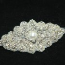 """3.5"""" Vintage Style Beaded Rhinestone Faux Pearl at Center Wedding Applique -CA"""