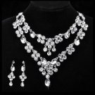 TEARDROP WEDDING BRIDAL RHINESTONE CRYSTAL DANGLE EARRINGS NECKLACE SET -CA