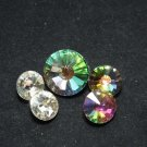 Mixed Clear and Aurora Borealis Rhinestone Crystal Silver Tone Base Button DIY