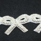 6 Pieces Bow Rhinestone Crystal Dress Craft Sew/Iron Applique Trim