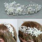 Silver Flower Bridal Wedding Bride Pearl Rhinestone Crystal Hair Headband -EU