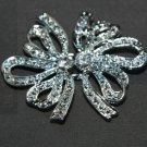 Lot of 6 Butterfly Bow Rhinestone Crystal Wedding Closure Hook and Eye Clasp DIY