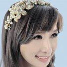 Gold Flower Bridal Wedding Tiara Pearls Beads Rhinestone Crystal Headband - EU