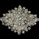 RHOMBUS FLAT RHINESTONE CRYSTAL WEDDING BRIDAL RHOMBUS GOWN BROOCH PIN