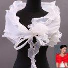 White Big Rose Bridal Wedding Cape Stole Wrap Shrug Shawl Scarf