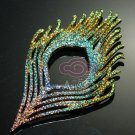 Colourful Rhinestone Crystal Peacock Feather Silver/Gold Tone Loops Back DIY