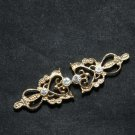 Vintage Style Motif Crown Gold Tone Rhinestone Crystal Hook and Eye Clasp DIY