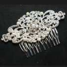 Lot of 4 Wedding Bridal Rhinestone Crystal Faux Pearl Silver Rhombus Hair Comb