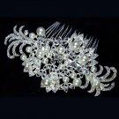 Silver Flower Faux Pearl Vintage Style Rhinestone Crystal Wedding Hair Comb