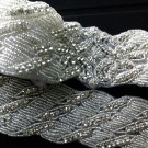 BEADED GLASS CRYSTAL RHINESTONE WEDDING CRAFT SASH LONG TRIM APPLIQUE -EU