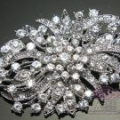 BRIDAL WEDDING CAKE CLEAR RHINESTONE CRYSTAL GRAPE FLOWER BOUQUET BROOCH PIN -EU
