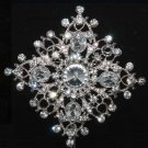 BRIDAL WEDDING RHINESTONE CRYSTAL BLING RHOMBUS VINTAGE STYLE BROOCH PIN -CA