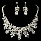 Wedding Bridal Rhinestone Crystal High-End Faux Pearl Jewelry Set -CA
