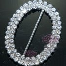 Oval Rhinestone Crystal Wedding Invitation Ribbon Slider Sash Belt Buckle