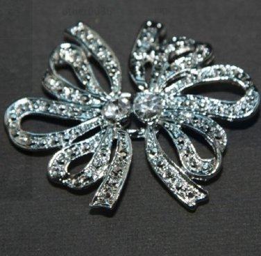 Butterfly Bow Rhinestone Crystal Wedding Bridal Sash Closure Hook and Eye Clasp