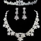 WEDDING BRIDAL RHINESTONE CRYSTAL FOREHEAD TIARA CLIP EARRINGS NECKLACE SET -CA