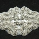 BEADED GLASS CRYSTAL RHINESTONE WEDDING CRAFT SASH HEADBAND APPLIQUE -CA