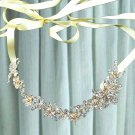 Bridal Wedding Rhinestone Crystal Hair Tiara Ivory Ribbon Gold Headband