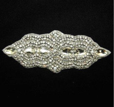 FAUX PEARL BEADED GLASS TEARDROP CRYSTAL RHINESTONE WEDDING DRESS APPLIQUE -CA