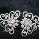 Lot of 3 Vintage Style Motif Wedding AB Rhinestone Crystal Hook and Eye Clasp